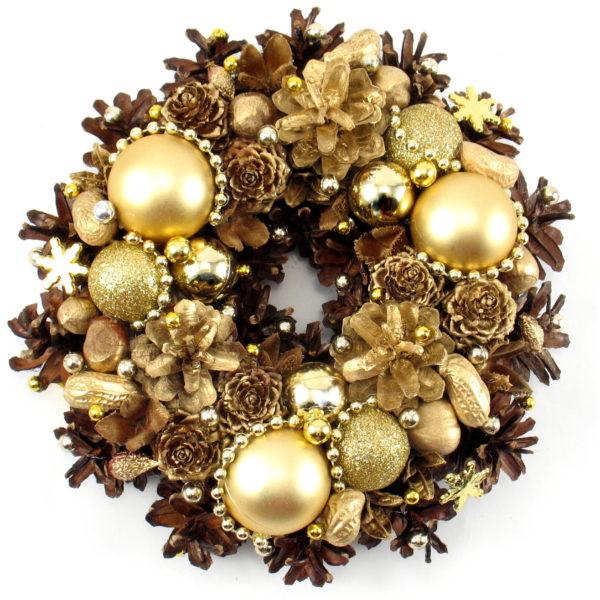 Mały złoty wianek bożonarodzeniowy