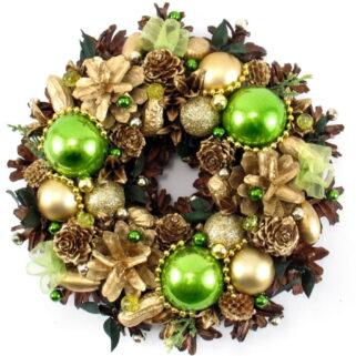 Mały wianek świąteczny zielono-złoty
