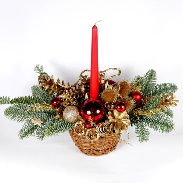 Stroik świąteczny w koszyczku