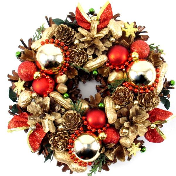 Mały wianek bożonarodzeniowy czerwono-złoty