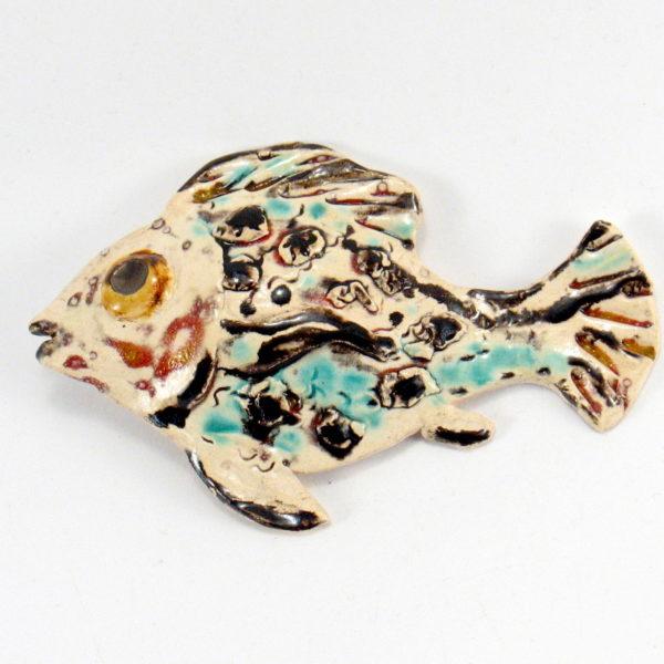 Ryba ceramiczna cętkowana, zawieszka na ścianę, uformowana ręcznie z gliny, kolorowa, oryginalna dekoracja łazienki, pokoju dziecinnego, salonu,