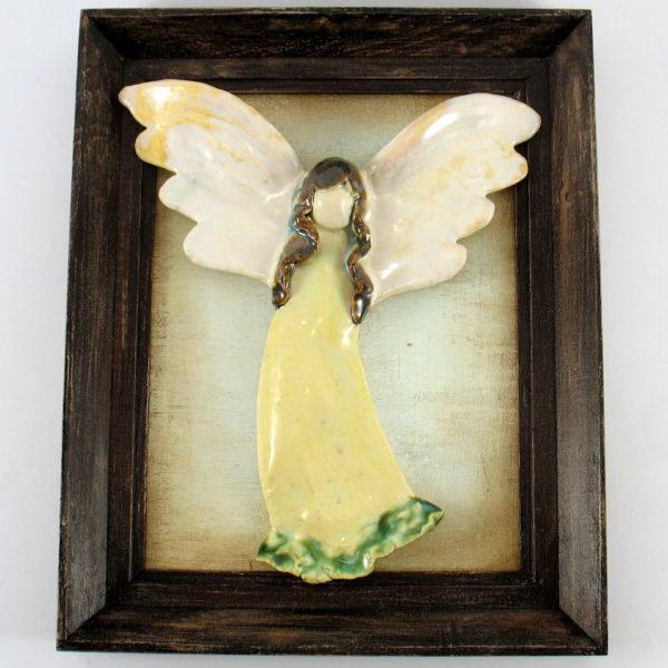 Seledynowy anioł ceramiczny w ramie, zawieszka na ścianę, oprawiony w drewnianą, postarzaną ramę , doskonały prezent, jedyny i niepowtarzalny egzemplarz