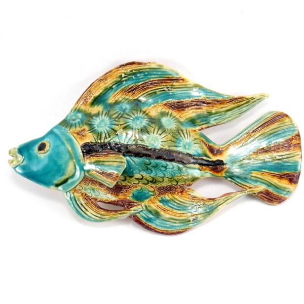 Ryba ceramiczna turkusowo-zielona, uformowana ręcznie z gliny, kolorowa, oryginalna dekoracja łazienki, pokoju dziecinnego, salonu,