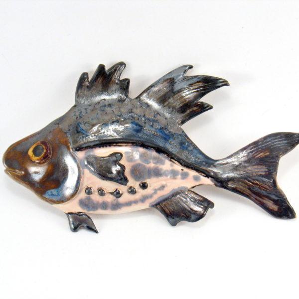 Ryba ceramiczna grafitowo-różowa, uformowana ręcznie z gliny, kolorowa, oryginalna dekoracja łazienki, pokoju dziecinnego, salonu,