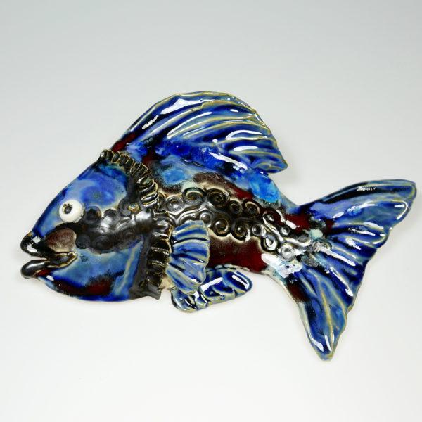Ryba ceramiczna niebiesko-granatowa