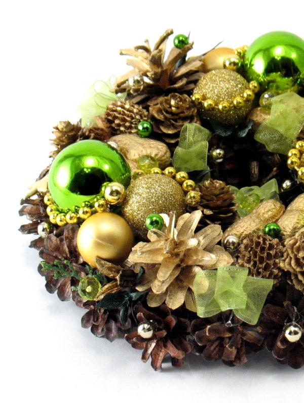 Mały wianek bożonarodzeniowy złoty z zielonym