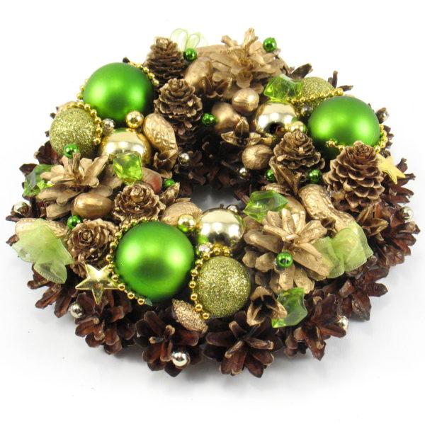 Mały złoto-zielony wianek świąteczny