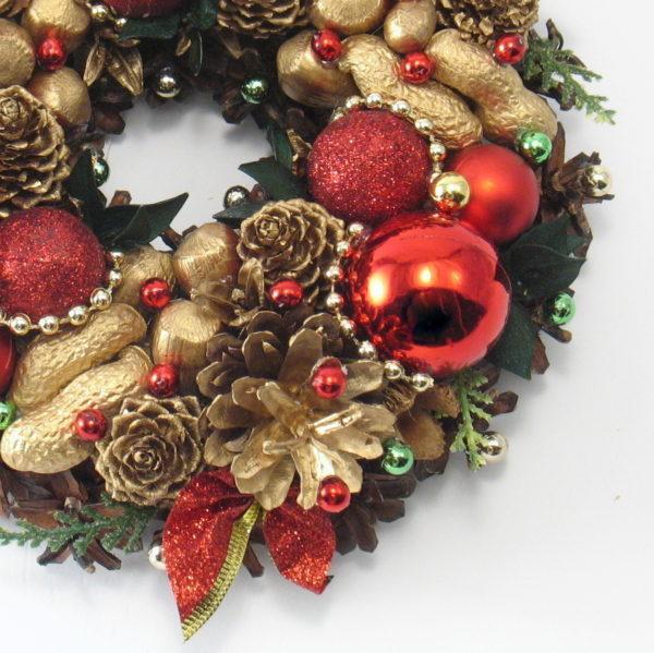 Mały wianek świąteczny czerwony ze złotym