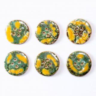 Guzik ceramiczny okrągły żółto-zielony, niepowtarzalny