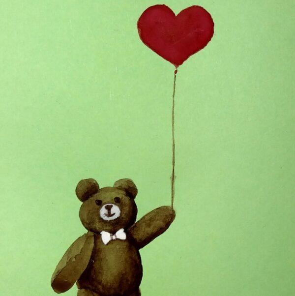 Miś z balonikiem - akwarela na papierze -Dorota Waberska