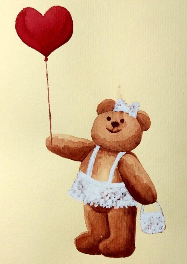 Miś dziewczynka z balonikiem - akwarela na papierze -Dorota Waberska