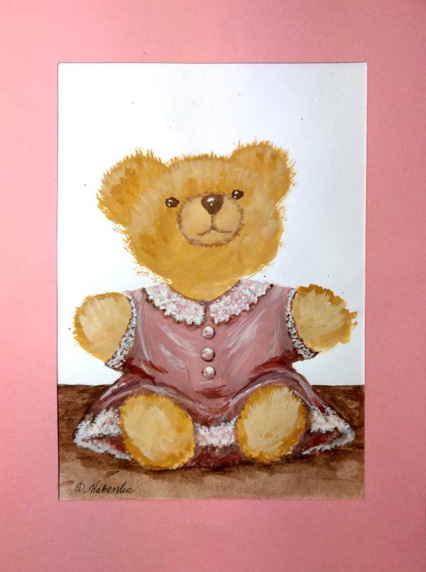 Miś dziewczynka - akwarela na papierze -Dorota Waberska