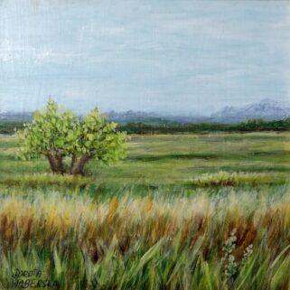 Wierzby na polanie - Akryl na płycie hdf -Dorota Waberska