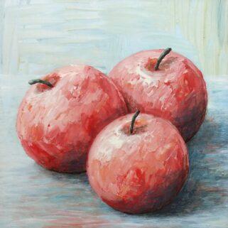 Trzy jabłka - Akryl na płycie HDF -Dorota Waberska