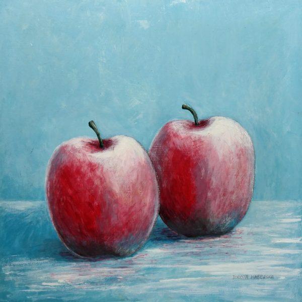 Dwa jabłka - Akryl na płycie HDF -Dorota Waberska