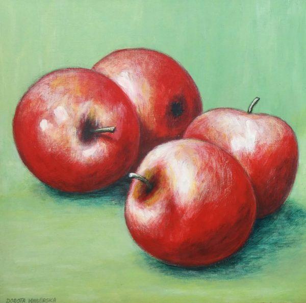 Cztery jabłka - Akryl na płycie HDF -Dorota Waberska