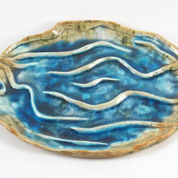 Patera ceramiczna morskie fale będzie interesującą ozdobą domu, Niepowtarzalny egzemplarz, doskonały prezent, gotowy do wysyłki.