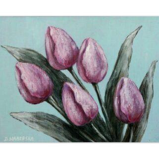 Pięć tulipanów - akryl na płycie HDF -Dorota Waberska