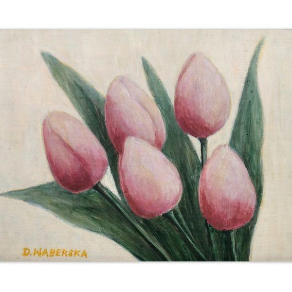 Pięć tulipanów ( 2 ) - akryl na płycie HDF -Dorota Waberska