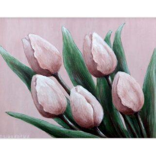 Pięć różowych tulipanów - akryl na płycie HDF -Dorota Waberska