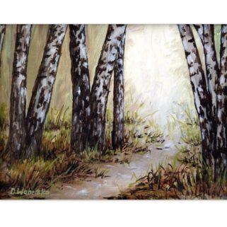 Droga w brzozowym lesie - Olej na płótnie -Dorota Waberska