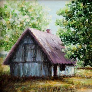 Domek w sadzie - Akryl na płycie hdf -Dorota Waberska