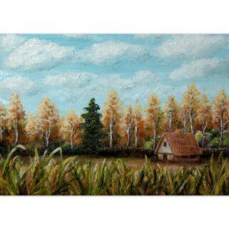 Domek w lesie - Olej na płótnie -Dorota Waberska