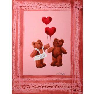 Zakochani z serduszkami - akwarela na papierze -Dorota Waberska