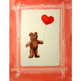 Zakochany miś z balonem - akwarela na papierze -Dorota Waberska