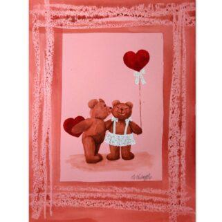 Walentynkowy buziak - akwarela na papierze -Dorota Waberska
