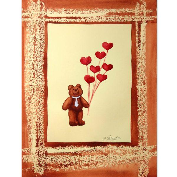 Miś z pękiem balonów - akwarela na papierze -Dorota Waberska