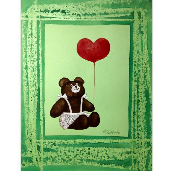 Dziewczynka miś z balonikiem - akwarela na papierze -Dorota Waberska