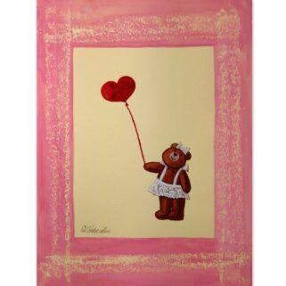 Szczęśliwa dziewczynka - miś - akwarela na papierze -Dorota Waberska