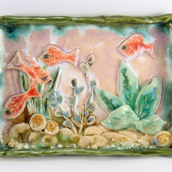 Patera ceramiczna akwarium, rękodzieło, obrazek ceramiczny., Niepowtarzalny egzemplarz, doskonały prezent, gotowy do wysyłki.