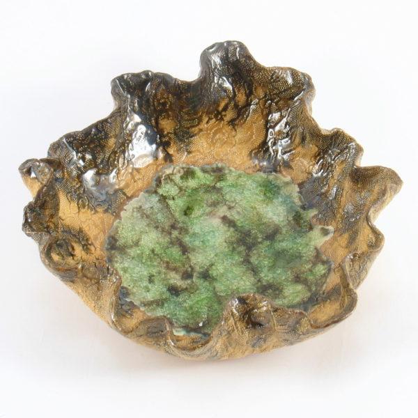 Miska ceramiczna brązowo-zielona o organicznym kształcie , Niepowtarzalny egzemplarz, doskonały prezent. Gotowy do wysyłki.