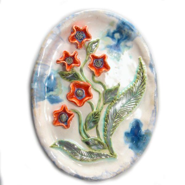 Patera ceramiczna z kwiatami będzie interesującą ozdobą domu, Niepowtarzalny egzemplarz, doskonały prezent, gotowy do wysyłki.