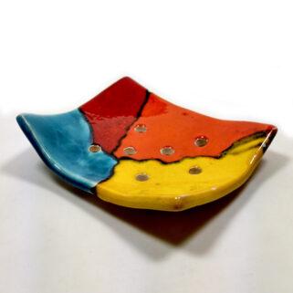 Ceramiczna mydelniczka prostokątna, ręcznie wykonana z gliny i glazurowana; do łazienki, do kuchni, do ubikacji.