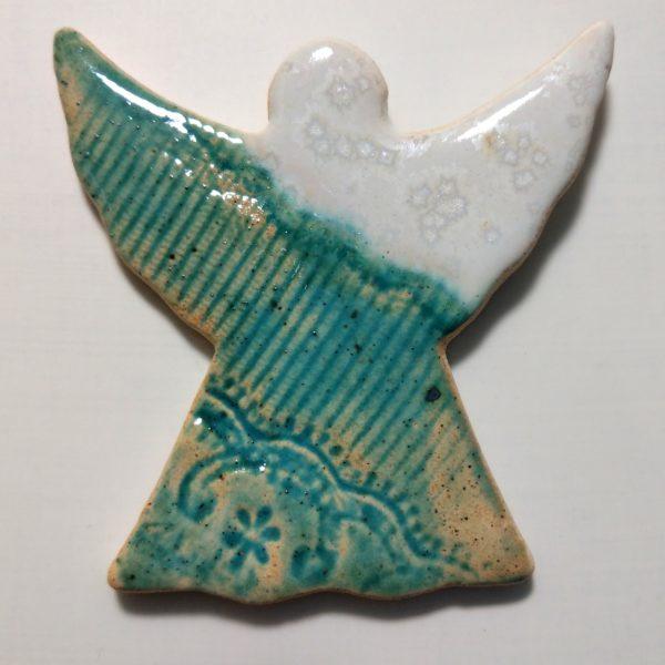 Aniołek ceramiczny biało-turkusowy