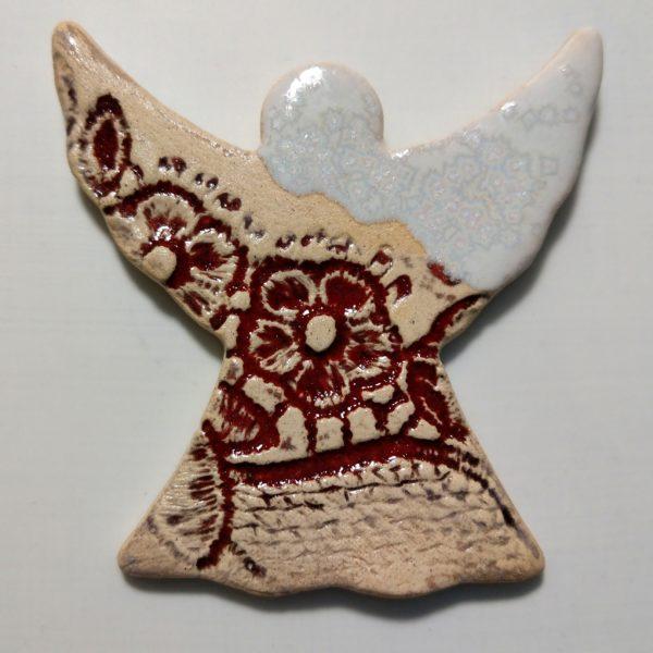 Aniołek ceramiczny czerwono-biały
