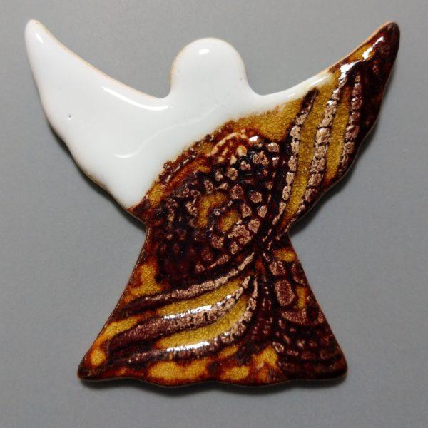 Aniołek ceramiczny biało-miodowy