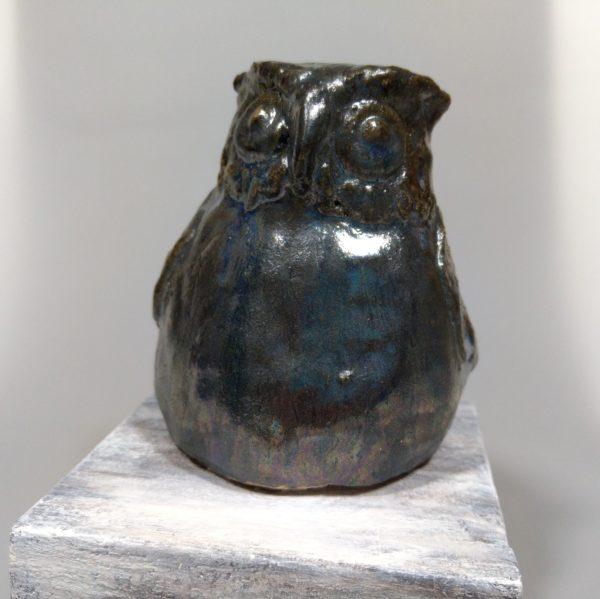 Sowa szara-figurka ceramiczna