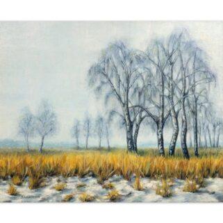 Zimowa polana- Olej na płótnie -Dorota Waberska