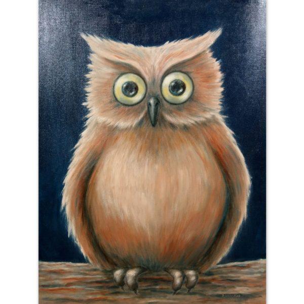Sowa 2 - Olej na papierze do malowania - Dorota Waberska
