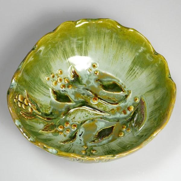 Miska ceramiczna zielona z gałązkami o nieregularnym kształcie, Niepowtarzalny egzemplarz, doskonały prezent. Gotowy do wysyłki.