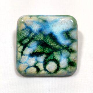 Broszka ceramiczna - Zielono turkusowa