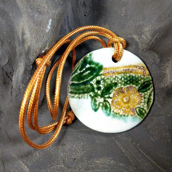 Naszyjnik ceramiczny - Żółty Kwiat
