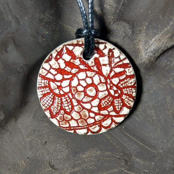 Naszyjnik ceramiczny - Koronkowy