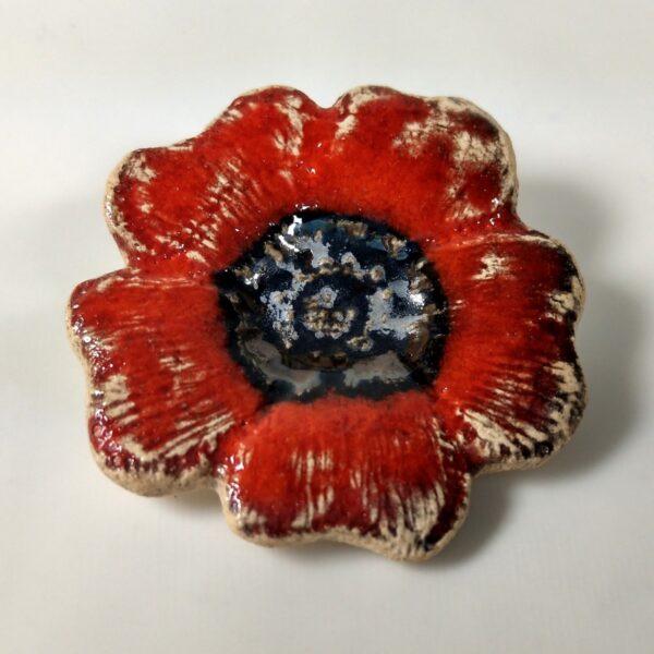 Broszka ceramiczna - Ognisty Kwiat