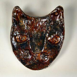 Broszka ceramiczna - Brązowy Kot