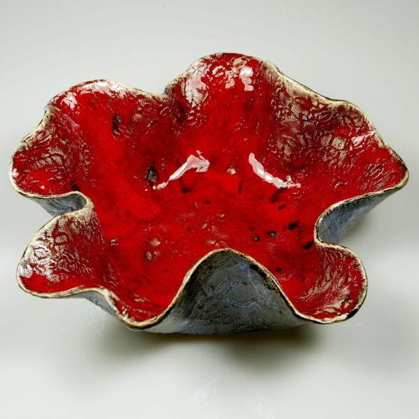 Miska ceramiczna Bajeczna Czerwień, wyrób rękodzieła artystycznego